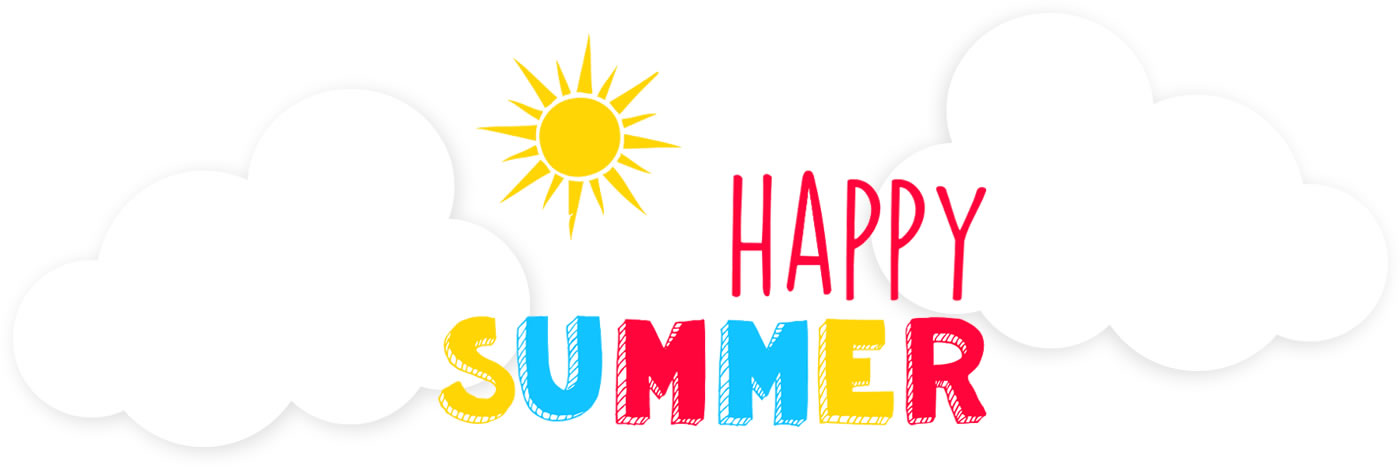 sun, clouds, with text : Happy Summer